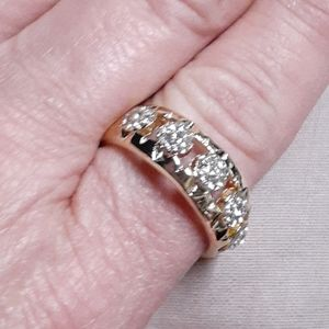 Mens gold plated diamond ring